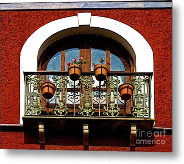 Arched Window With Flowers Metal Print by Mexicolors Art Photography