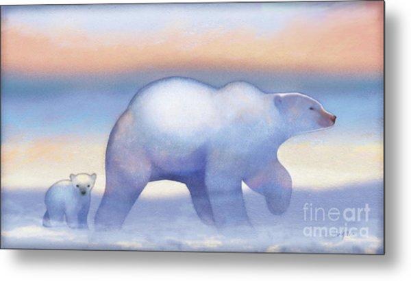 Arctic Bears, Journeys Bright Metal Print