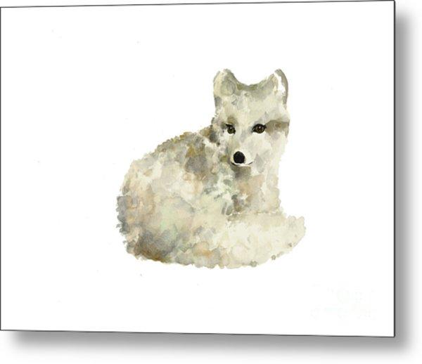 Arctic Fox Watercolor Art Print Painting Metal Print