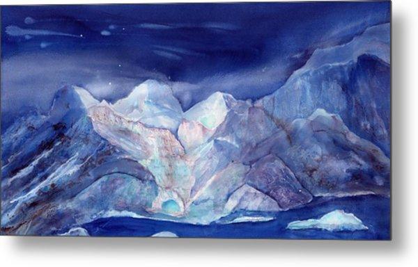Moonlight Over The Glacier Metal Print