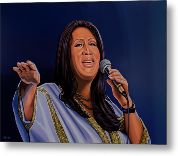 Aretha Franklin Painting Metal Print