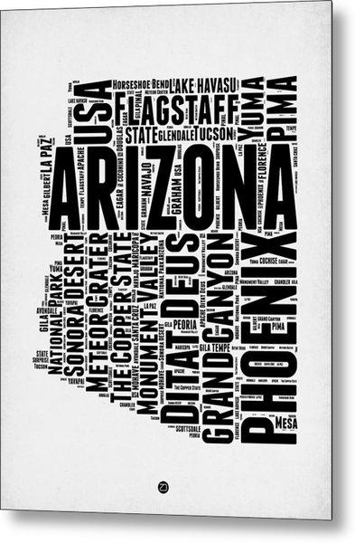 Arizona Word Cloud Map 2 Metal Print