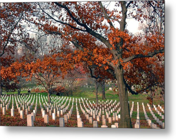 Arlington Cemetery In Fall Metal Print