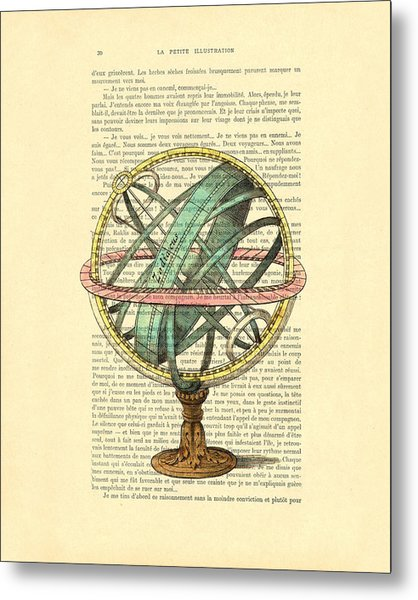 Armillary Sphere In Color Antique Illustration On Book Page Metal Print