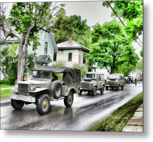 Army Jeeps On Parade Metal Print