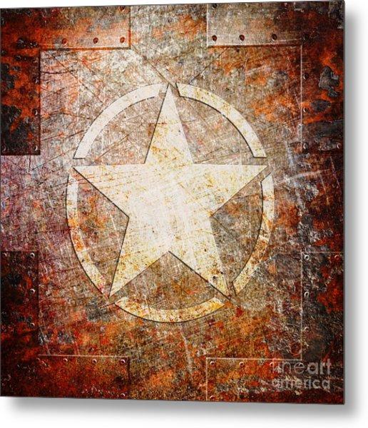 Army Star On Rust Metal Print