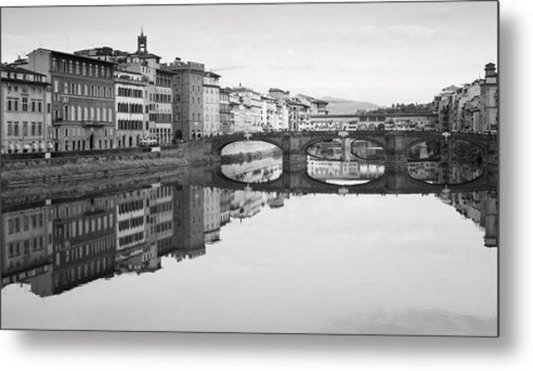 Arno River Reflection, Florence, Italy Metal Print