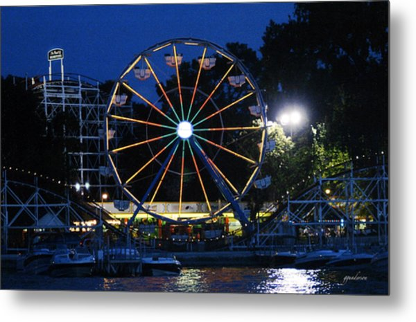 Arnolds Park At Night Metal Print