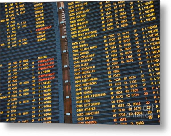 Arrival Board At Paris Charles De Gaulle International Airport Metal Print by Sami Sarkis
