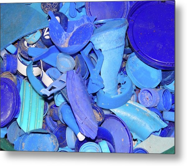 Art With Recycling - Collecting Blue Plastic Metal Print
