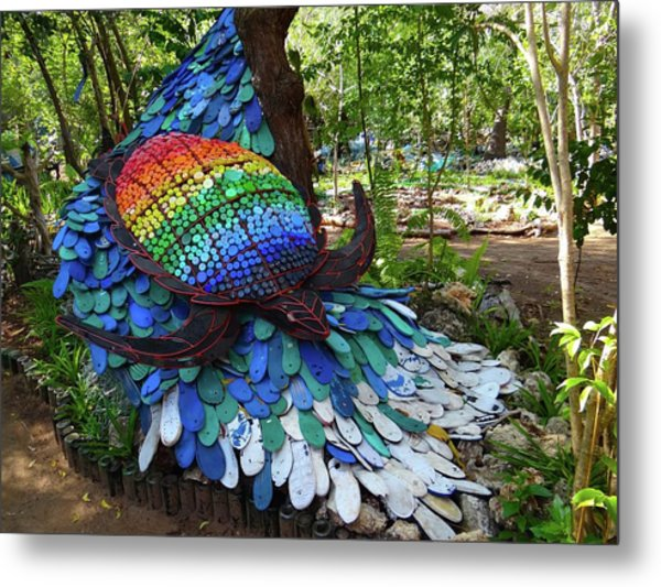 Art With Recycling - Turtle Metal Print