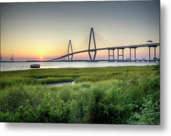 Arthur Ravenel Bridge Sunset Metal Print