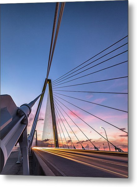 Arthur Ravenel Jr. Bridge Light Trails Metal Print