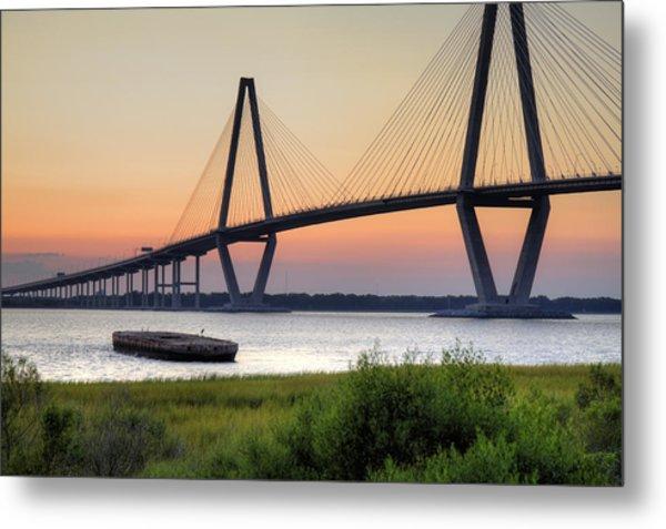 Arthur Ravenel Jr. Bridge Sunset Metal Print