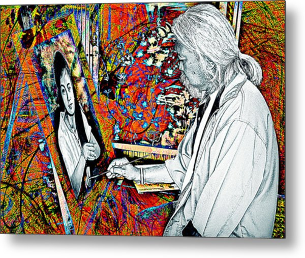 Artist In Abstract Metal Print