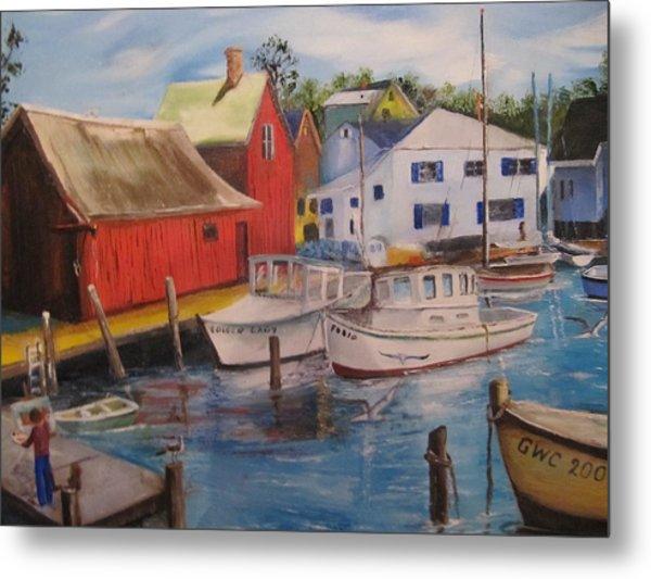 Artist In New England Dock Metal Print by Gloria Condon