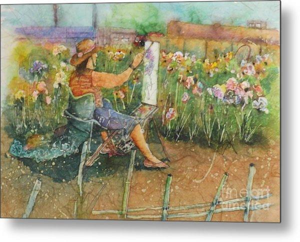 Artist In The Iris Garden Metal Print