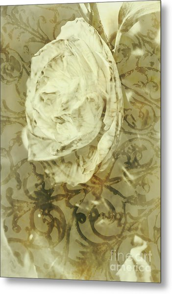 Artistic Vintage Floral Art With Double Overlay Metal Print