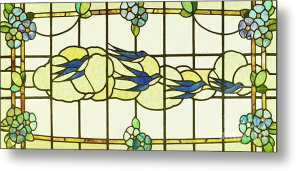 Arts And Crafts Panel Of A Group Of Swallows Before Clouds In A Border Of Flowers Metal Print