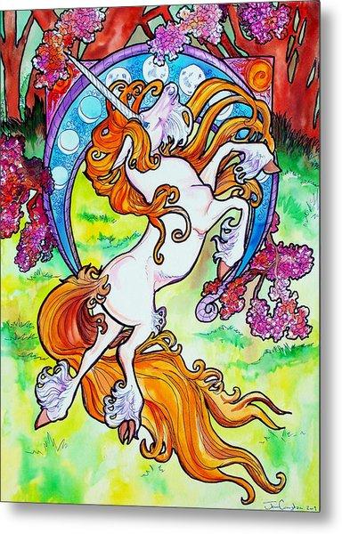 Artsy Nouveau Unicorn Metal Print
