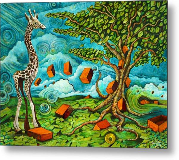As High As Giraffe Bus Metal Print