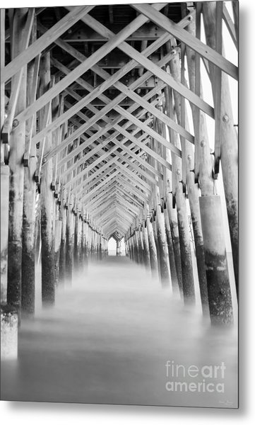 As The Water Fades Grayscale Metal Print