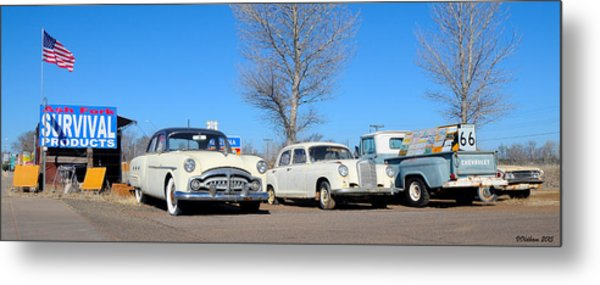 Ash Fork Vintage Cars Along Historic Route 66 Metal Print