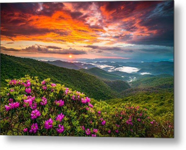 Asheville North Carolina Blue Ridge Parkway Scenic Sunset Metal Print