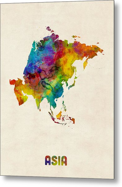 Asia Continent Watercolor Map Metal Print