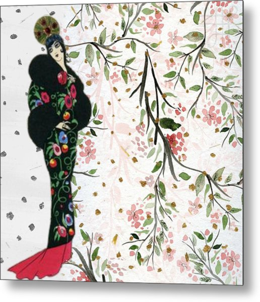 Asian Art Deco Beauty Metal Print