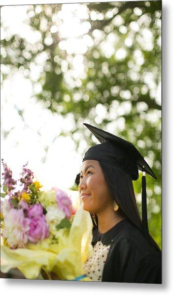 Asian Girl In Graduation Cap Metal Print by Gillham Studios