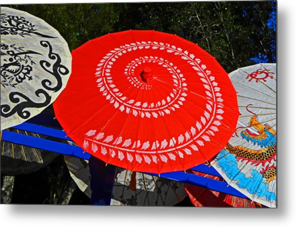Asian Parasols Metal Print