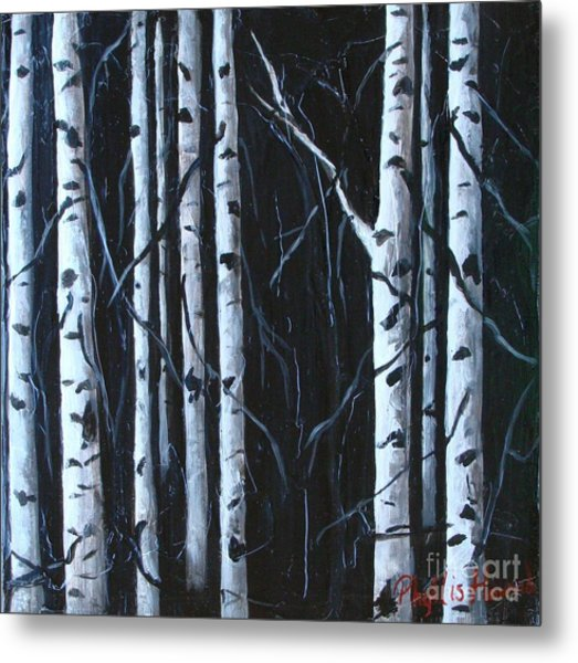Metal Print featuring the painting Aspen Grove by Phyllis Howard