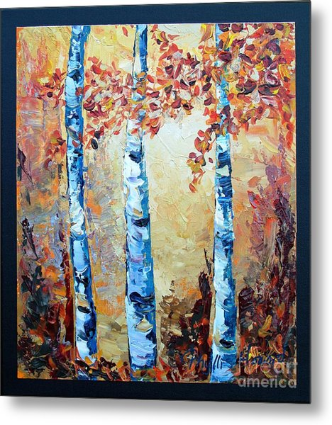 Aspens In Glow Metal Print