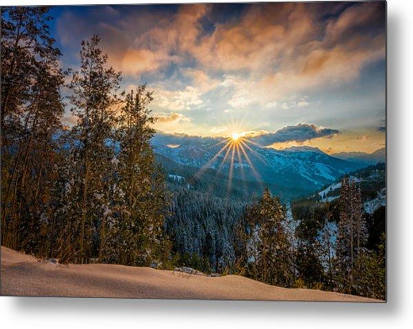 Aspens Sunset After Snowfall Metal Print