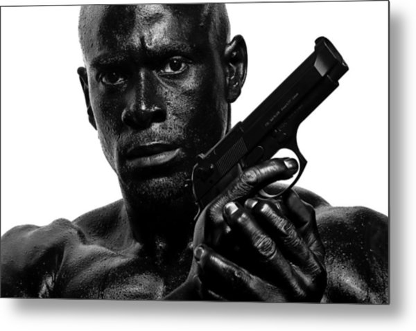 Assassin In Black And White Metal Print