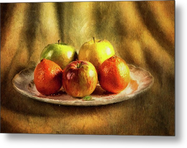 Assorted Fruits In A Plate Metal Print
