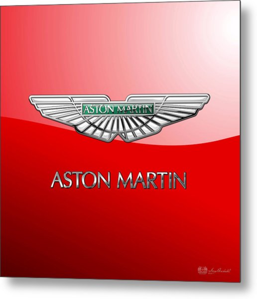 Aston Martin - 3 D Badge On Red Metal Print