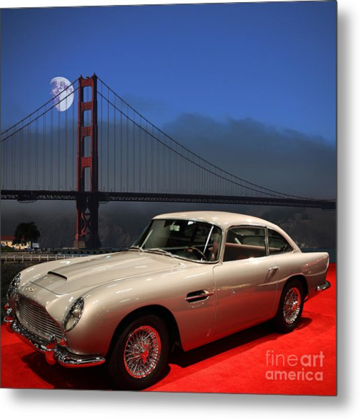 Aston Martin Db5 Under The Golden Gate Moon Metal Print by Wingsdomain Art and Photography
