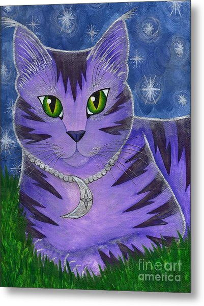 Astra Celestial Moon Cat Metal Print
