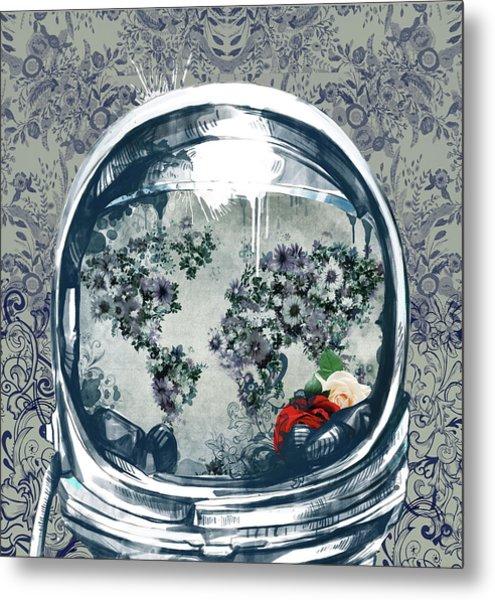 Astronaut World Map 5 Metal Print