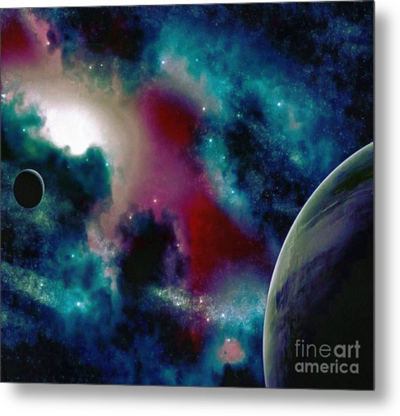 Astronomy Painting Glammed Out Teal Metal Print