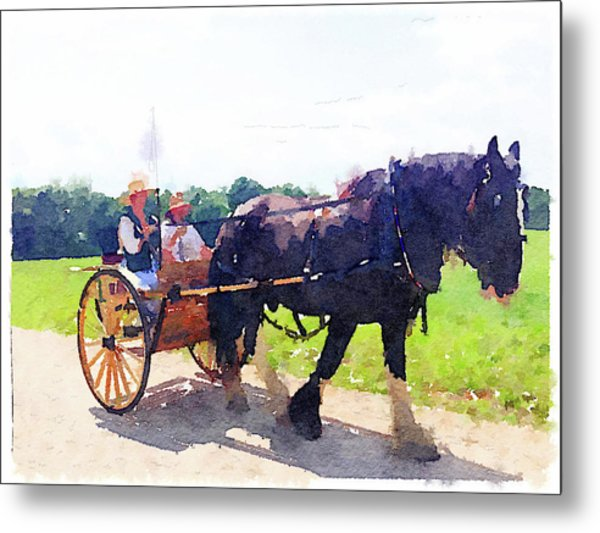 Horse And Buggy At Mount Vernon Metal Print