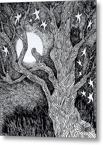 At Night Beside The Twisted Tree Metal Print