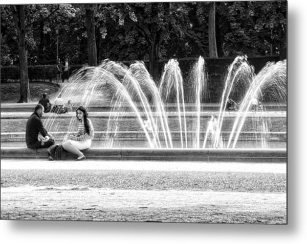 At The Fountain Metal Print