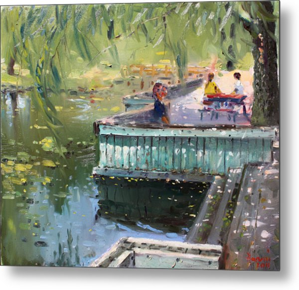 At The Park By The Water Metal Print