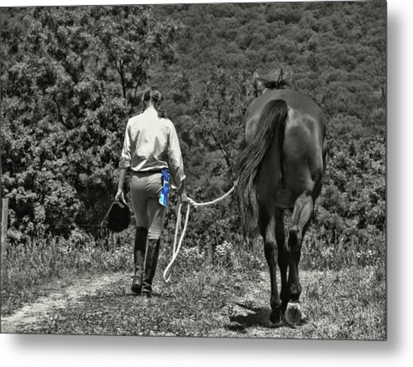At The Show Blue Ribbon Metal Print by JAMART Photography