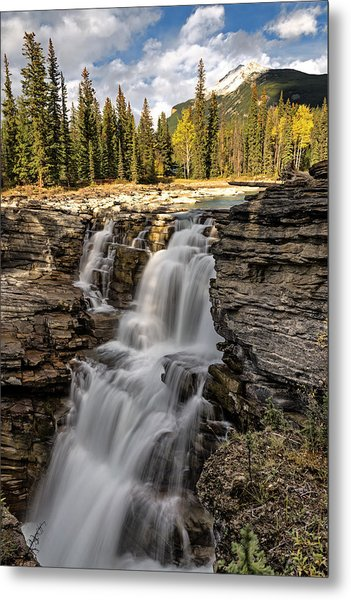 Metal Print featuring the photograph Athabasca Falls by John Gilbert