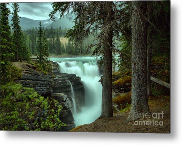 Athabasca Falls Through The Trees Metal Print