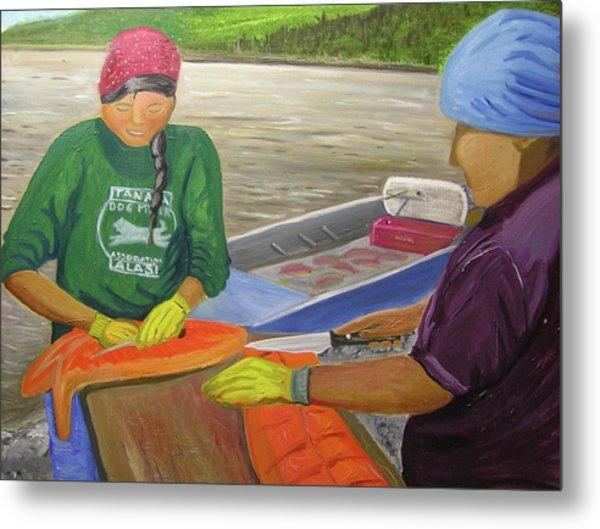 Athabaskan Women Cutting Salmon Metal Print by Amy Reisland-Speer